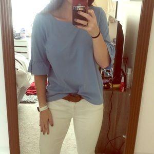 •NWT• Blue Ruffle Sleeve Blouse